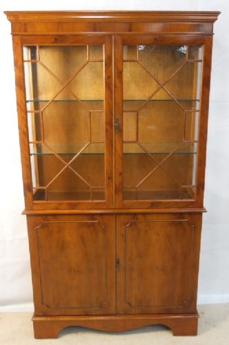 Display Cabinet, Georgian Style Yew Wood